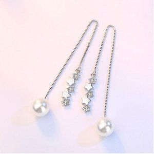 925 Sterling Silver Diamond Star Pearl Earrings